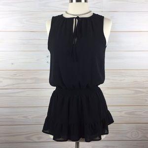 Michael Kors Summer Ruffle Size XS Black Top